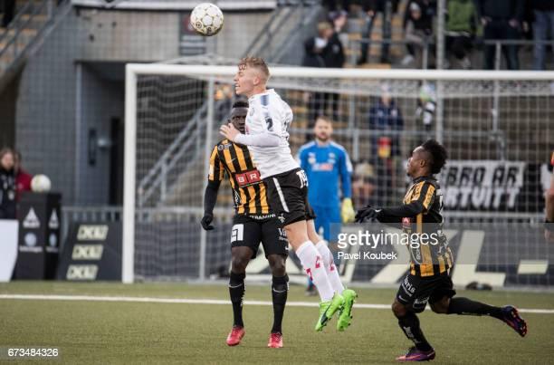 Alhassan Kamara of BK Hacken Sebastian Ring of Orebro SK during the Allsvenskan match between Orebro SK and BK Hacken at Behrn Arena on April 26 2017...