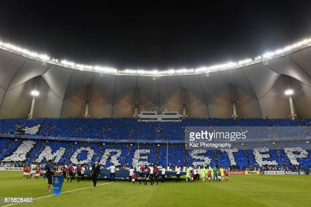 AlHilal fans show their support prior to the AFC Champions League Final 2017 first leg between AlHilal and Urawa Red Diamonds at King Fahd...
