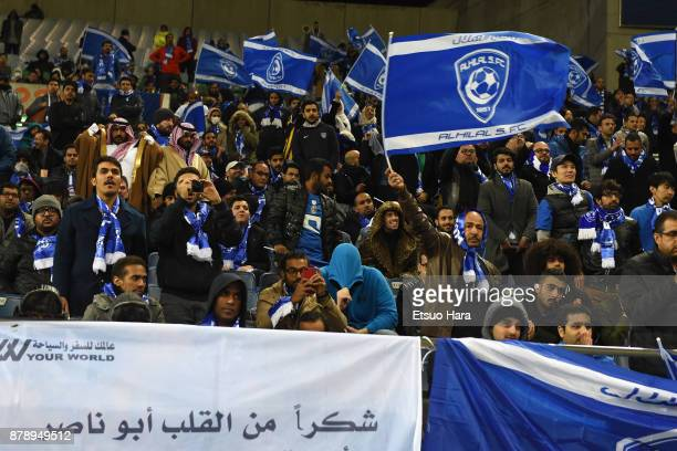 AlHilal supporters cheer during the AFC Champions League Final second leg match between Urawa Red Diamonds and AlHilal at Saitama Stadium on November...