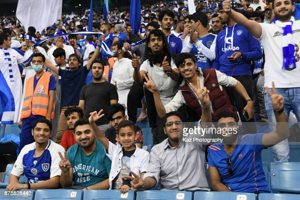 AlHilal supporters cheer prior to the AFC Champions League Final 2017 first leg between AlHilal and Urawa Red Diamonds at King Fahd International...