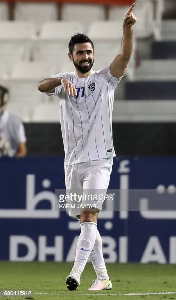 AlHilal's celebrates Omar Khribin celebrates during a AFC Champions League match between Qatar's alRayyan and Saudi Arabia's alHilal at the Jassim...