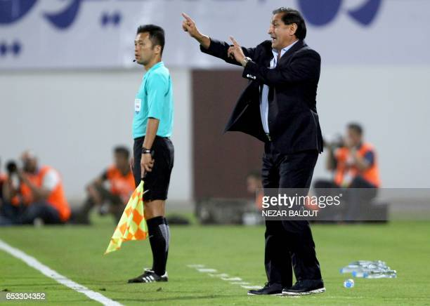 AlHilal's head coach Ramon Angel Diaz of Argentina attends the AFC Champions League group D football match between UAE's AlWahda and Saudi Arabia's...