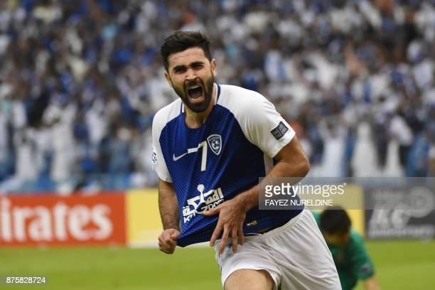 AlHilal's Omar Khrbin celebrates after scoring a goal during the Asian Champions League final football match between Saudi Arabia's AlHilal and...