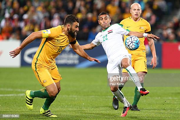 Ali Abbas of Iraq looks to pass the ball during the 2018 FIFA World Cup Qualifier match between the Australian Socceroos and Iraq at nib Stadium on...