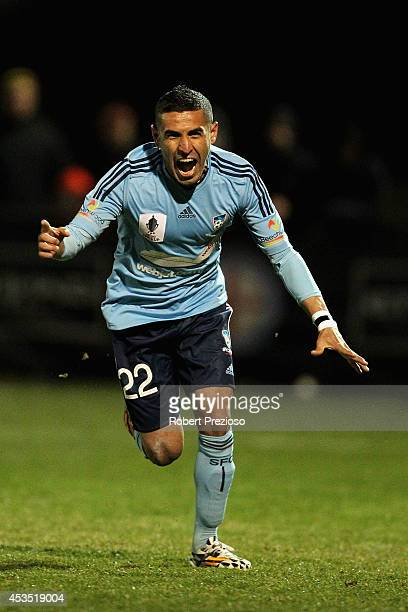 Ali Abbas of Sydney celebrates after scoring a penalty during the FFA Cup match between Melbourne City and Sydney FC at Morshead Park Stadium on...