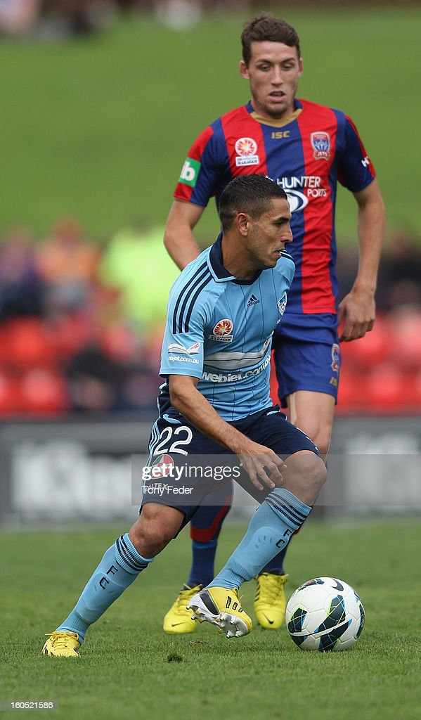 Ali Abbas of Sydney controls the ball during the round 19 A-League match between the Newcastle Jets and Sydney FC at Hunter Stadium on February 2, 2013 in Newcastle, Australia.
