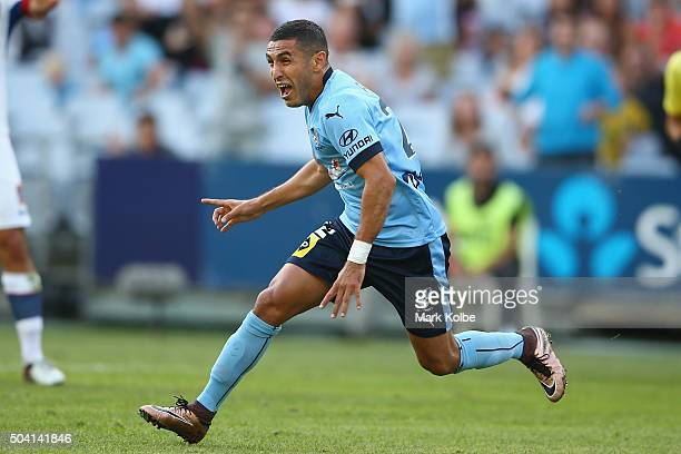 Ali Abbas of Sydney FC celebrates scoring a goal during the round 14 ALeague match between Sydney FC and the Newcastle Jets at ANZ Stadium on January...