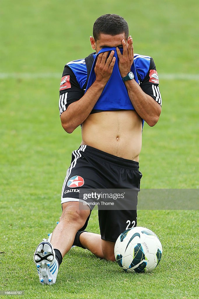 Ali Abbas of Sydney wipes sweat from his face during a Sydney FC A-League training session at Macquarie Uni on November 15, 2012 in Sydney, Australia.
