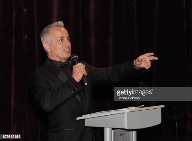 Ali Afshar gives the intro for the premiere of Warner Bros Home Entertainment's 'American Wrestler The Wizard' at Regal LA Live Stadium 14 on April...