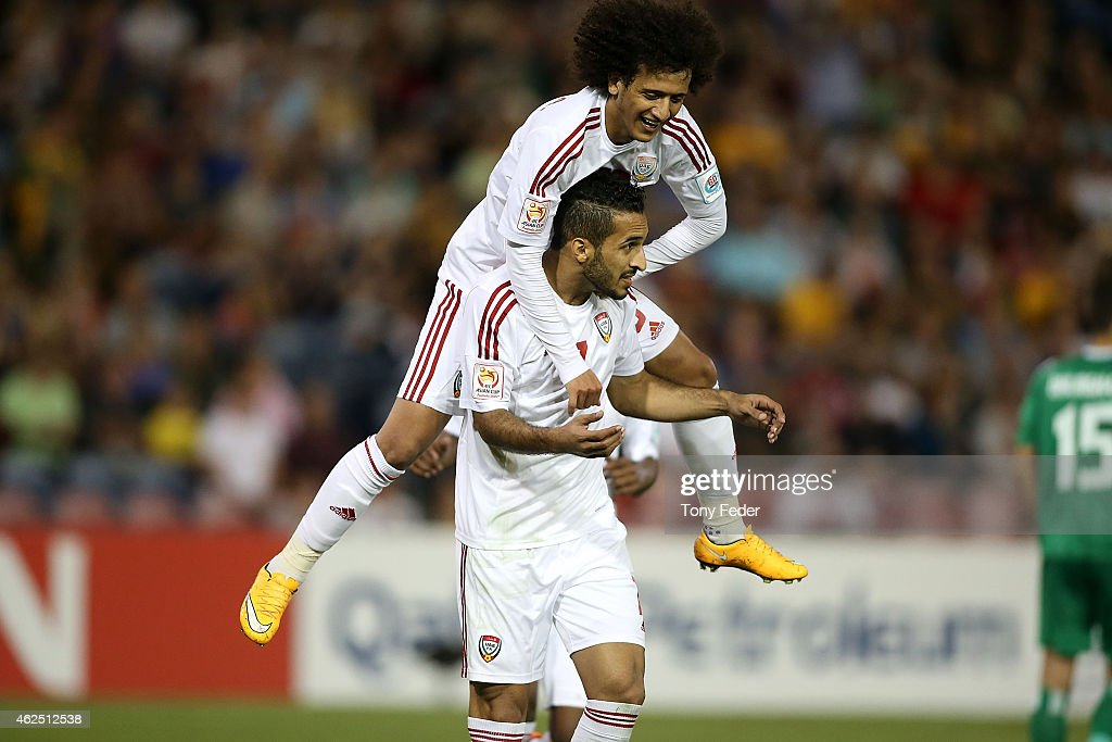 Ali Ahmed Mabkhout of the United Arab Emirates celebrates a goal with team mate <a gi-track='captionPersonalityLinkClicked' href=/galleries/search?phrase=Omar+Abdulrahman&family=editorial&specificpeople=6420654 ng-click='$event.stopPropagation()'>Omar Abdulrahman</a> during the Third Place 2015 Asian Cup match between Iraq and the United Arab Emirates at Hunter Stadium on January 30, 2015 in Newcastle, Australia.