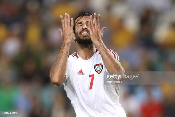 Ali Ahmed Mabkhout of the United Arab Emirates reacts after a missed chance on goal during the 2018 FIFA World Cup Qualifier match between the...