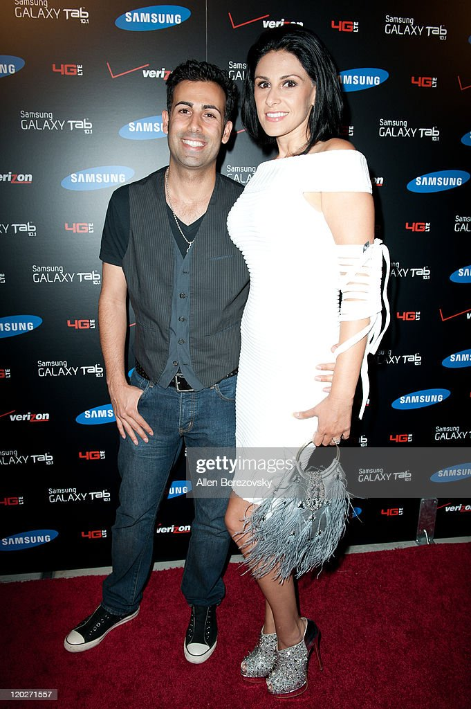 Ali Ajad and guest arrive at the Samsung Galaxy Tab 10.1 launch party at The Beverly on August 2, 2011 in Los Angeles, California.