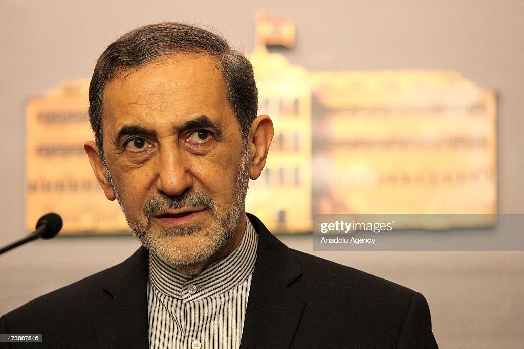 Ali Akbar Velayati advisor to the Iran's Islamic republic's supreme leader Ayatollah Ali Khamenei holds a press conference after their meeting with...