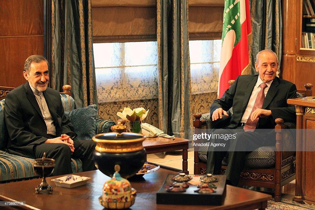 Ali Akbar Velayati advisor to the Iran's Islamic republic's supreme leader Ayatollah Ali Khamenei meets with Speaker of the Parliament of Lebanon...