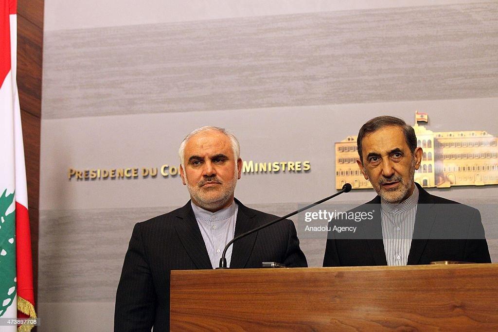 Ali Akbar Velayati advisor to the Iran's Islamic republic's supreme leader Ayatollah Ali Khamenei holds a press conference next to Irans ambassador...