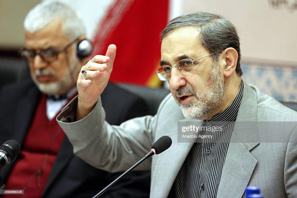 Ali Akbar Velayati advisor to the Islamic republic's supreme leader Ayatollah Ali Khamenei speaks during an international conference dubbed Scholars...