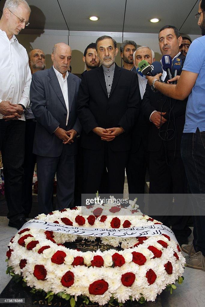 Ali Akbar Velayati advisor to the Islamic republic's supreme leader Ayatollah Ali Khamenei lays a wreath at the grave of Imad Mughniyeh and his son...