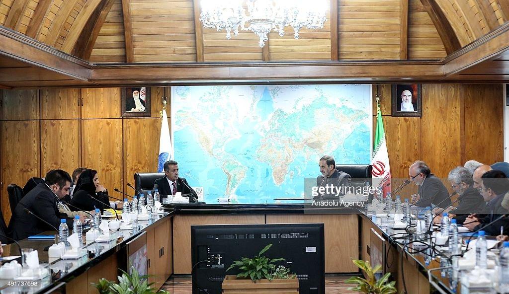 Ali Akbar Velayati an adviser to Iran's Supreme Leader Ayatollah Ali Khamenei attends a meeting with Vice chairman of the Yemeni Supreme...