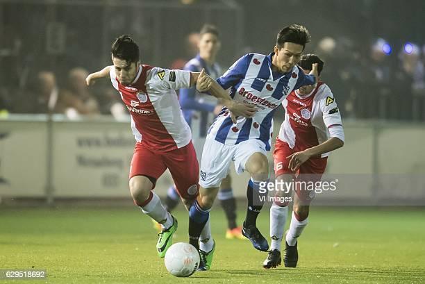 Ali Akla of IJsselmeervogels Yuki Kobayashi of SC Heerenveenduring the Dutch Cup third round match between vv IJsselmeervogels and sc Heerenveen at...
