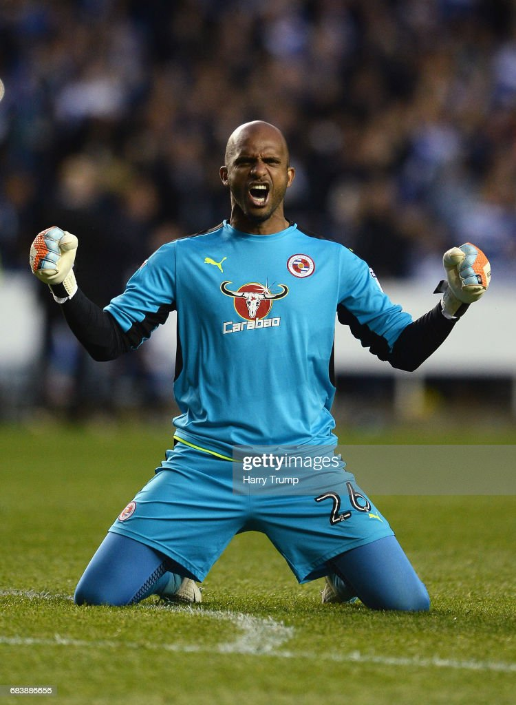 Ali Al-Habsi of Reading celebrates his sides first goal during the Sky Bet Championship Play Off Second Leg match between Reading and Fulham at Madejski Stadium on May 16, 2017 in Reading, England.