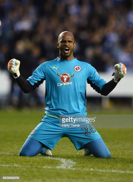 Ali AlHabsi of Reading celebrates his sides first goal during the Sky Bet Championship Play Off Second Leg match between Reading and Fulham at...