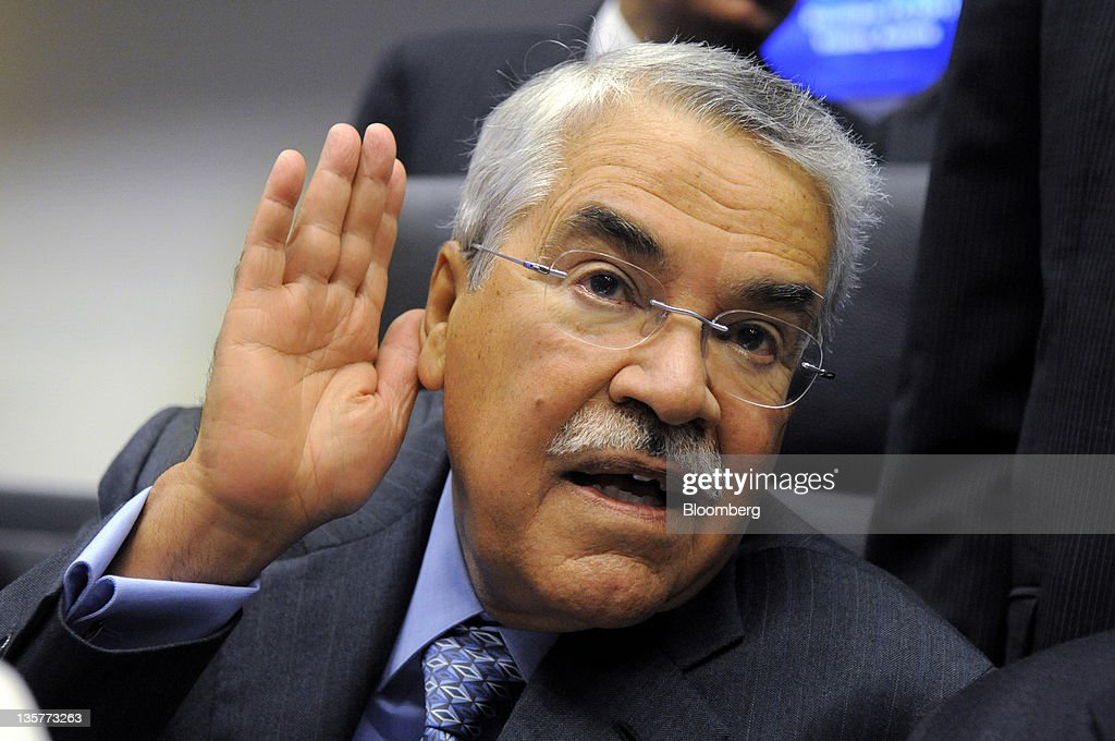 Ali al-Naimi, Saudi Arabia's oil minister, gestures to the media prior to the start of the 160th Organization of Petroleum Exporting Countries (OPEC) meeting in Vienna, Austria, on Wednesday, Dec.14, 2011. Members of the Organization of Petroleum Exporting Countries including Iran and Saudi Arabia agreed that the group should set a production ceiling of 30 million barrels a day, an OPEC delegate said. Photographer: Vladimir Weiss/Bloomberg via Getty Images