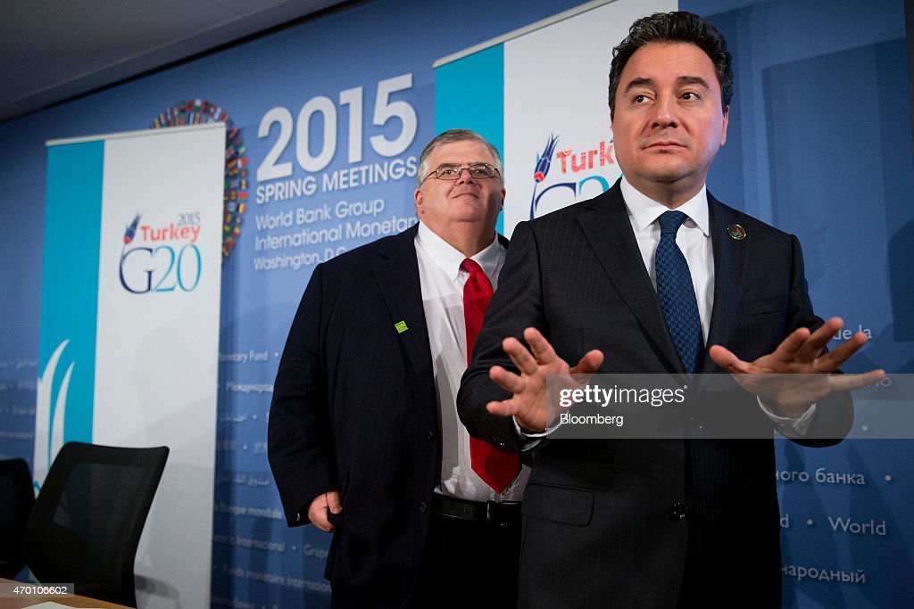 <a gi-track='captionPersonalityLinkClicked' href=/galleries/search?phrase=Ali+Babacan&family=editorial&specificpeople=612964 ng-click='$event.stopPropagation()'>Ali Babacan</a>, Turkey's deputy prime minister, right, speaks to members of the media after a news conference with <a gi-track='captionPersonalityLinkClicked' href=/galleries/search?phrase=Agustin+Carstens&family=editorial&specificpeople=2543899 ng-click='$event.stopPropagation()'>Agustin Carstens</a>, governor of the Bank of Mexico, following a Group of 20 (G-20) finance ministers' and central bank governors' group photo on the sidelines of the International Monetary Fund (IMF) and World Bank Group Spring Meetings in Washington, D.C., U.S., on Friday, April 17, 2015. IMF Managing Director Christine Lagarde warned yesterday that she wouldn't let Greece skip a debt payment to the lender, shutting down a potential avenue to buy the Greek government some financial leeway. Photographer: Andrew Harrer/Bloomberg via Getty Images