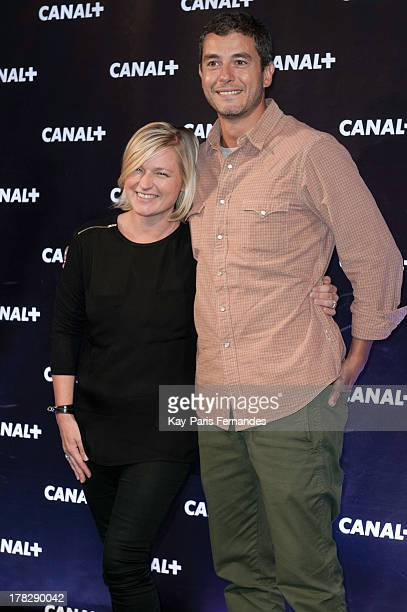 Ali Baddou and Anne Elisabeth Lemoine at the 'Rentree De Canal ' photocall at Porte De Versailles on August 28 2013 in Paris France