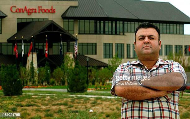 Ali Bahrani of Fort Collins Colorado stands outside the corporate headquarters of ConAgra Foods in Greeley Colorado on Monday August 12 2002 Bahrani...