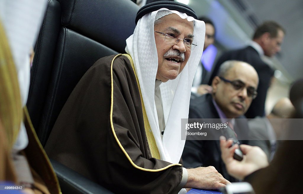 Ali Bin Ibrahim al-Naimi, Saudi Arabia's petroleum and mineral resources minister, speaks to journalists ahead of the 168th Organization of Petroleum Exporting Countries (OPEC) meeting in Vienna, Austria, on Friday, Dec. 4, 2015. Oil headed for its fourth decline in five weeks as the Organization of Petroleum Exporting Countries looked set to leave its production ceiling unchanged at a meeting in Vienna on Friday. Photographer: Lisi Niesner/Bloomberg via Getty Images