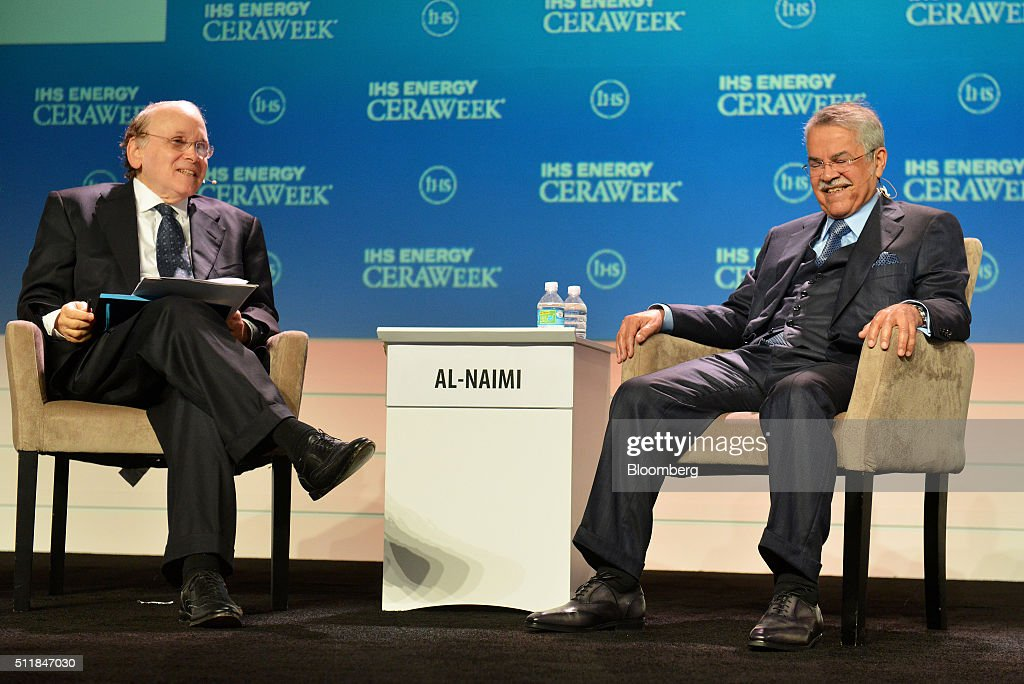Ali Bin Ibrahim al-Naimi, Saudi Arabia's petroleum and mineral resources minister, right, smiles as Daniel Yergin, vice chairman of IHS Cambridge Energy Research Associates Inc., speaks during the 2016 IHS CERAWeek conference in Houston, Texas, U.S., on Tuesday, Feb. 23, 2016. CERAWeek, in its 35th year, will provide new insights and critically-important dialogue with energy industry leaders, experts, government officials and policymakers, and leaders from the technology, financial and industrial communities. Photographer: Matthew Busch/Bloomberg via Getty Images