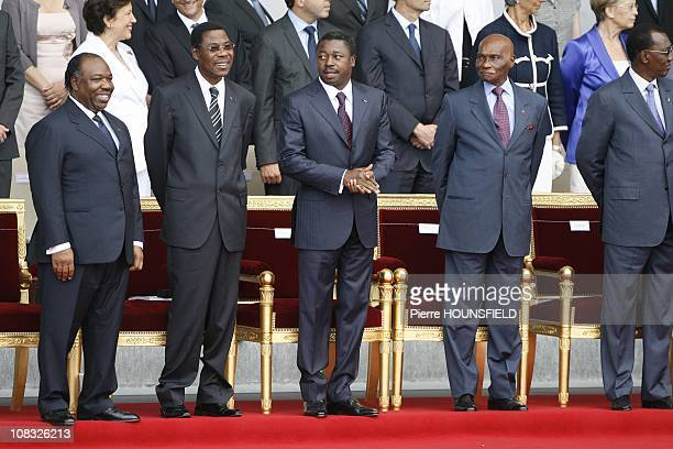 Ali Bongo Ondimba Boni Yayi Faure Gnassingbe Abdoulaye Wade Idriss Deby Itno in Paris France on July 14th 2010