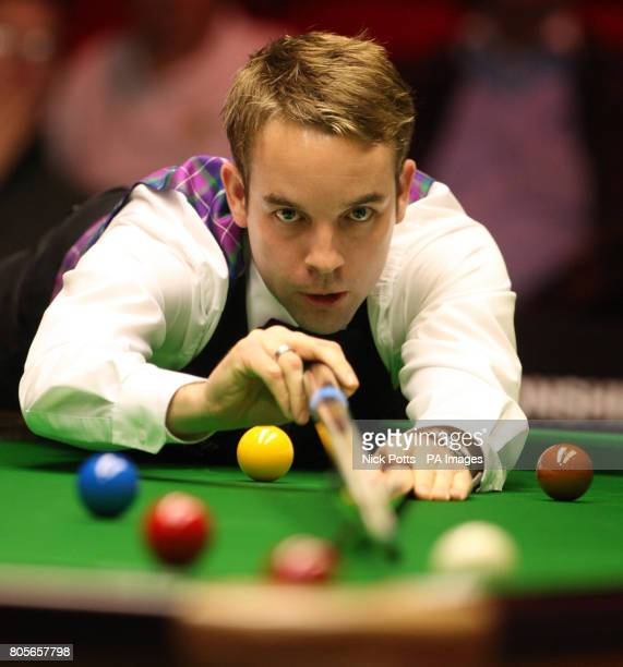 Ali Carter on the table during his 1st round match against Rory McLeod during the Pukka Pies UK Championship at Telford International Centre Telford