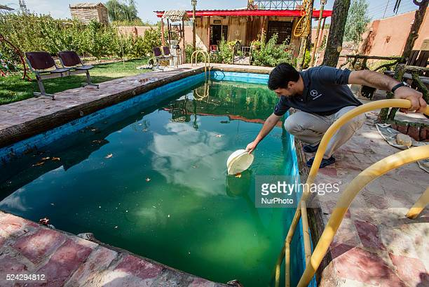 Ali Computer Company owner cleans the pool from the leaves in his countryhouse Esfahan Iran Iran is a diverse country consisting of many different...