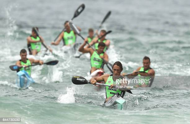 Ali Day leads the field on the Ski during the Round One Enduro during the Nutri Grain IronMan and IronWoman Finals at Cronulla Beach on February 24...
