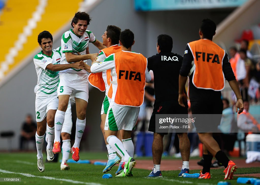Ali Faez of Iraq celebrates after scoring his team's first goal during the FIFA U20 World Cup Quarter Final match between Iraq and Korea Republic at...