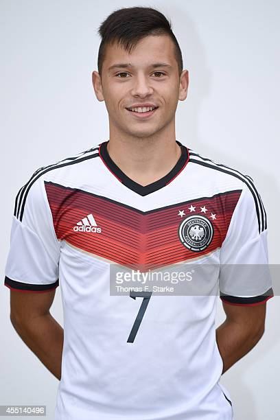 Ali Ferati poses during the team presentation of U16 Germany on September 10 2014 in Barnstorf Germany