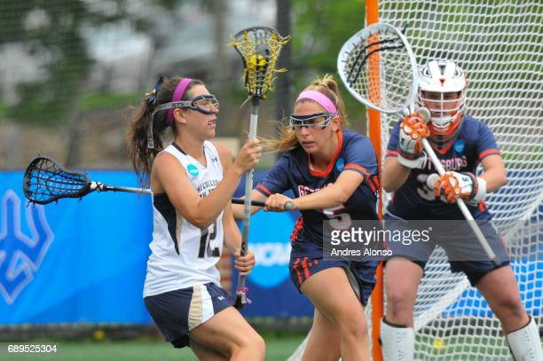 Ali Gorab of Gettysburg College defends Olivia Cleale of College of New Jersey during the Division III Women's Lacrosse Championship held at Kerr...