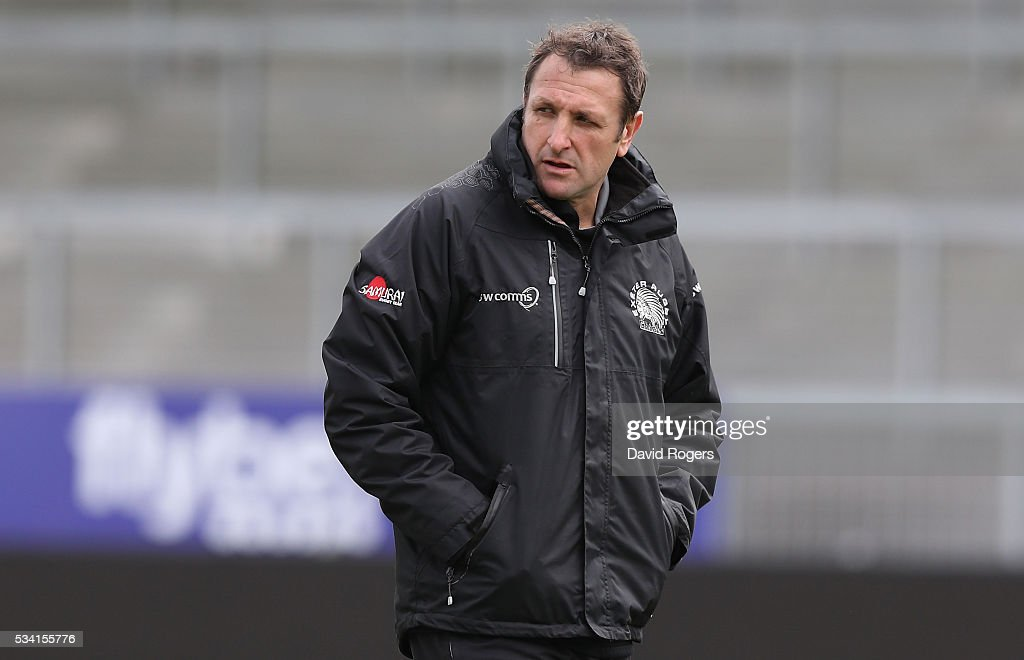 Ali Hepher, the Exeter Chiefs assistant coach looks on during the Exeter Chiefs training held at Sandy Parkl on May 25, 2016 in Exeter, England.