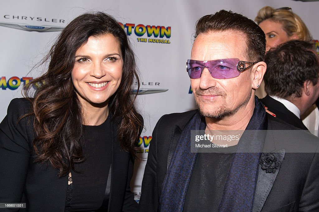 <a gi-track='captionPersonalityLinkClicked' href=/galleries/search?phrase=Ali+Hewson&family=editorial&specificpeople=210576 ng-click='$event.stopPropagation()'>Ali Hewson</a> (L) and musician <a gi-track='captionPersonalityLinkClicked' href=/galleries/search?phrase=Bono+-+Singer&family=editorial&specificpeople=167279 ng-click='$event.stopPropagation()'>Bono</a> of <a gi-track='captionPersonalityLinkClicked' href=/galleries/search?phrase=U2&family=editorial&specificpeople=201268 ng-click='$event.stopPropagation()'>U2</a> attend the Broadway opening night for 'Motown: The Musical' at Lunt-Fontanne Theatre on April 14, 2013 in New York City.
