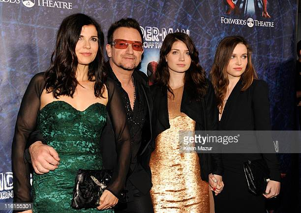 Ali Hewson Bono of U2 Eve Hewson and Jordan Hewson attend 'SpiderMan Turn Off The Dark' Broadway opening night at Foxwoods Theatre on June 14 2011 in...