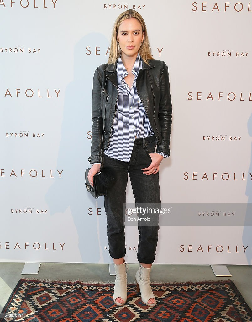 Ali Heywood arrives ahead of the Seafolly Spring 2016 Campaign Launch on June 30, 2016 in Sydney, Australia.