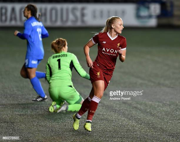 Ali Johnson of Liverpool Ladies celebrates after scoring the fifth during the Women's Super League match between Liverpool Ladies and Sheffield FC...