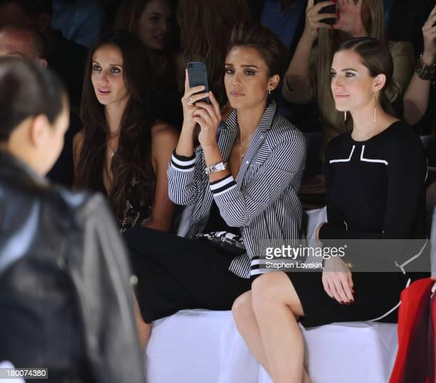Ali Kay Jessica Alba and Allison Williams attend the Diane Von Furstenberg fashion show during MercedesBenz Fashion Week Spring 2014 at The Theatre...