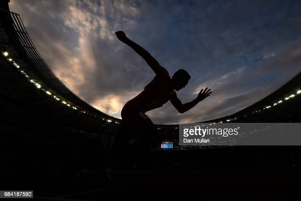 Ali Khamis Khamis of Bahrain competes in the Mens 400m Final during day six of Baku 2017 4th Islamic Solidarity Games at the Baku Olympic Stadium on...