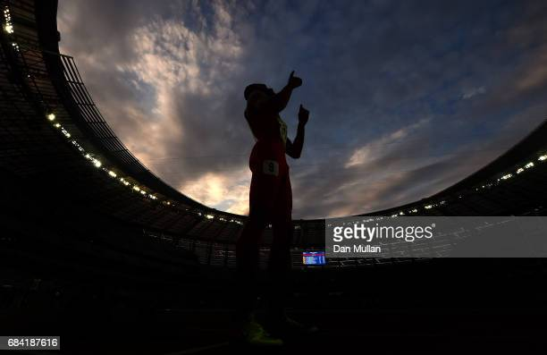 Ali Khamis Khamis of Bahrain prepares to compete in the Mens 400m Final during day six of Baku 2017 4th Islamic Solidarity Games at the Baku Olympic...