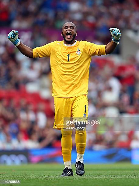 Ali Khaseif of the United Arab Emirates celebrates his teams goal during the Men's Football first round Group A Match of the London 2012 Olympic...