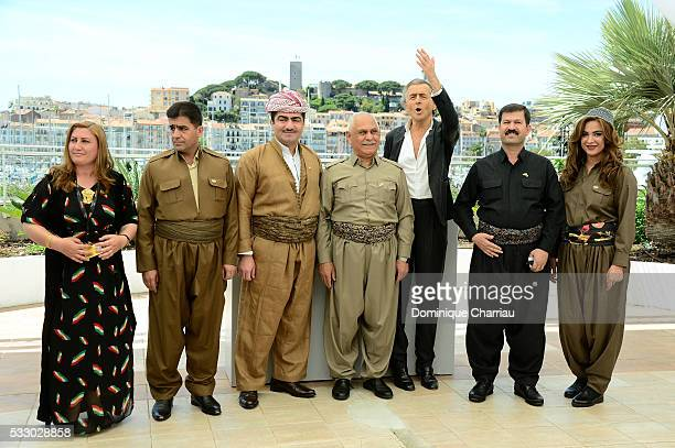 Ali Kheder Khatoon guest guest Mustafa Ali Jaafar Director BernardHenri Levy Serwan Sabir Barzani and guest attend 'Peshmerga' Photocall during The...