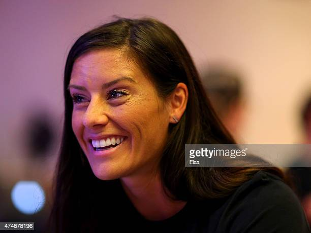 Ali Krieger answers questions during the United States Women's World Cup Media Day at Marriott Marquis Hotel on May 27 2015 in New York City