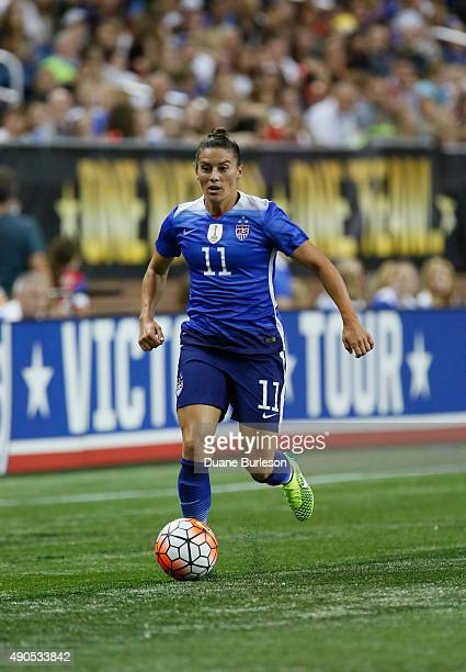 Ali Krieger of the United States drives the ball against Haiti during the second half of the US Women's 2015 World Cup victory tour match at Ford...